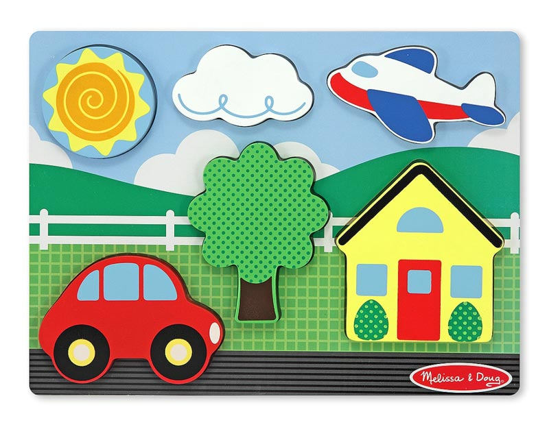 Chunky Puzzle Scenes - Yellow House Vehicles Children's Puzzles