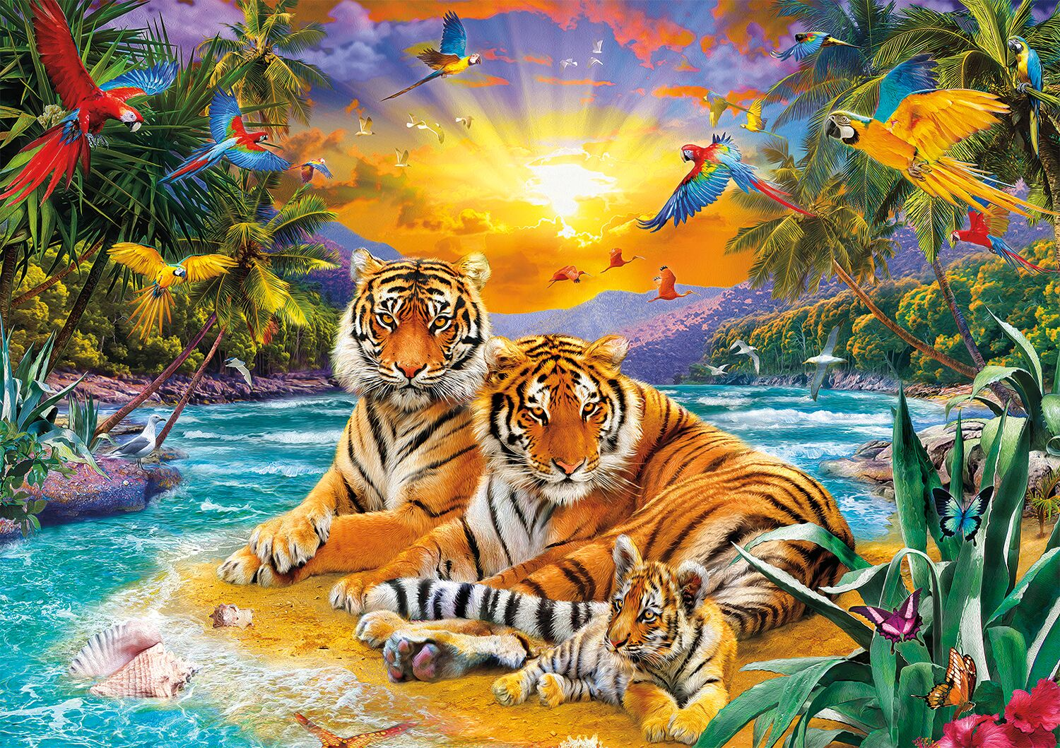 Sunset Tigers Tigers Jigsaw Puzzle