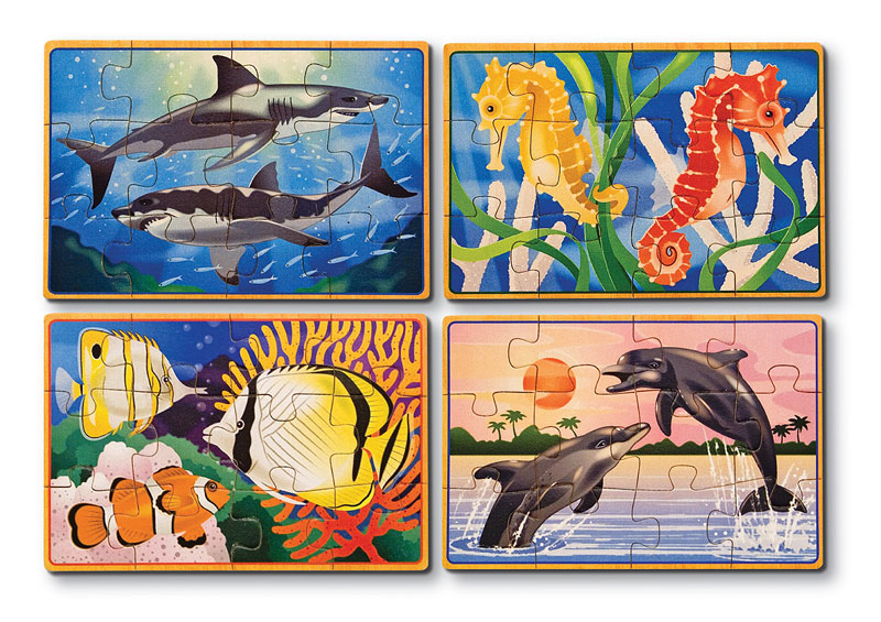 Sea Life Puzzles in a Box Dolphins Wooden Jigsaw Puzzle