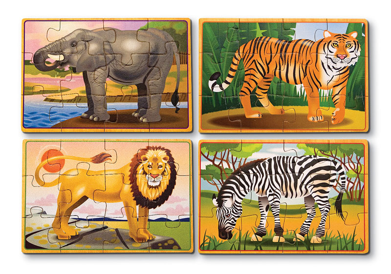 Wild Animals Puzzle in a Box Jungle Animals Wooden Jigsaw Puzzle