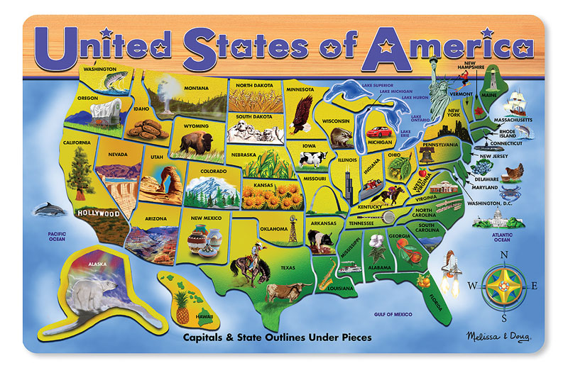 U.S.A. Map Educational Wooden Jigsaw Puzzle