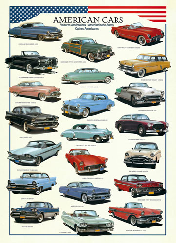 American Cars of the Fifties Nostalgic / Retro Jigsaw Puzzle