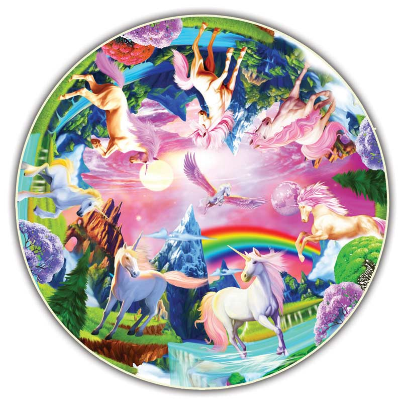 Unicorn Bliss Round Table Puzzle Shaped Puzzle