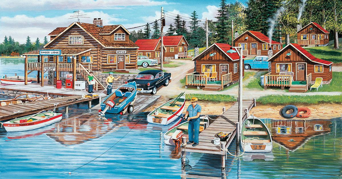 Timber Lodge Fishing Jigsaw Puzzle