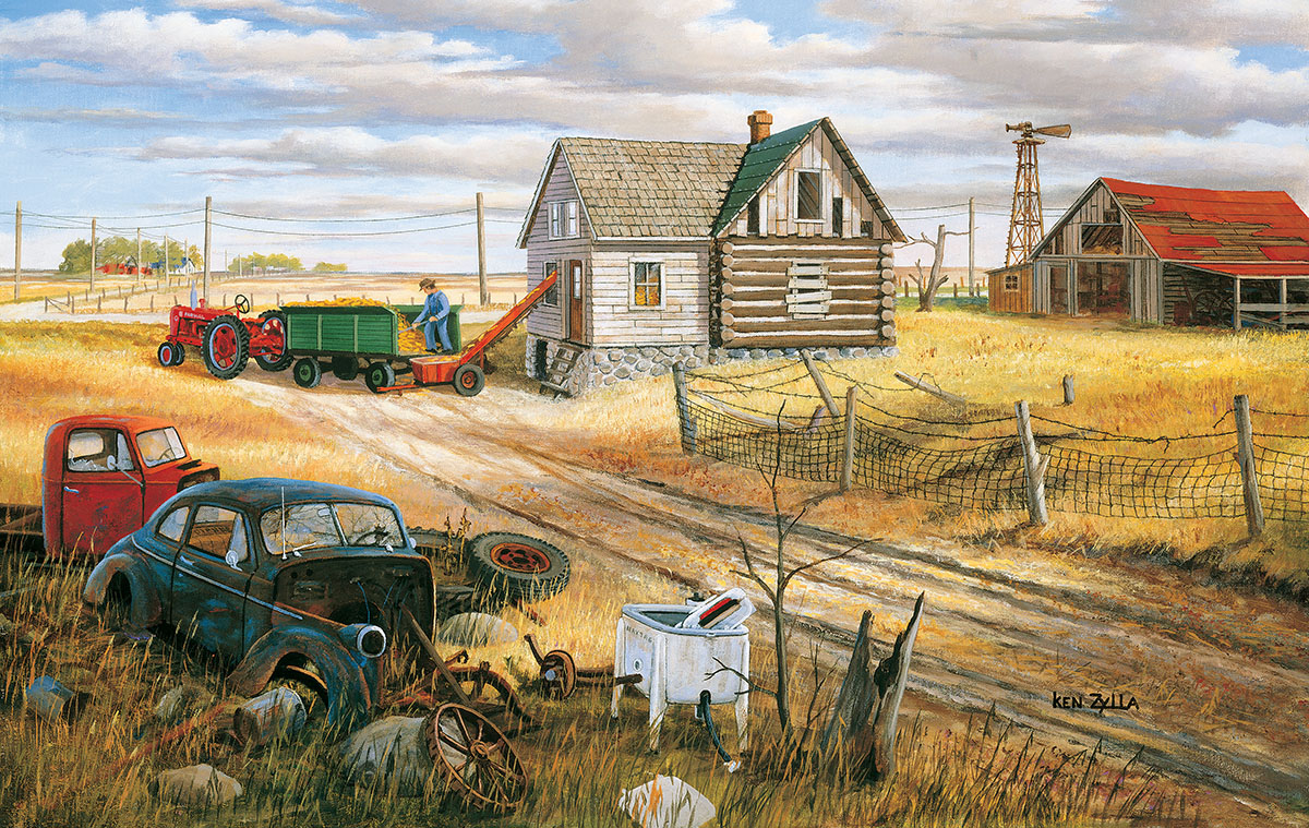 Homestead and Corn Crib Farm Jigsaw Puzzle