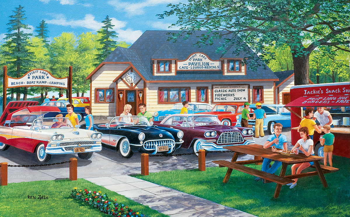 Life in the Past Lane Cars Jigsaw Puzzle