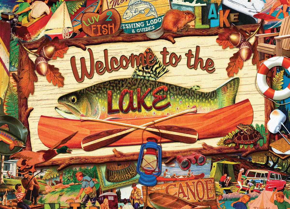 Welcome to the Lake Nostalgic / Retro Jigsaw Puzzle