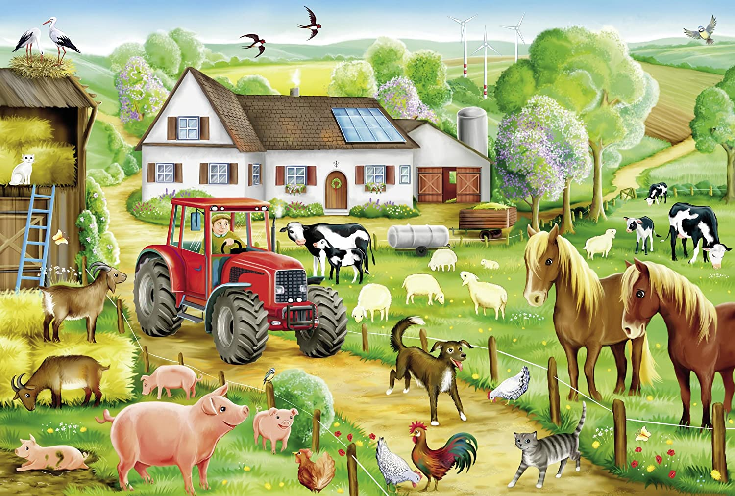 Merry Farmyard Farm Jigsaw Puzzle