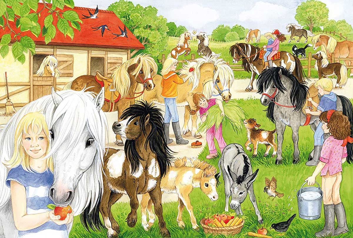 Fun at the Riding Stables Horses Jigsaw Puzzle