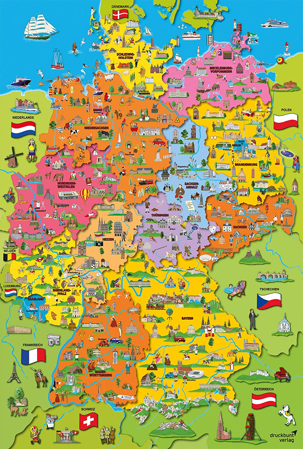 Cartoon Map of Germany Maps / Geography Jigsaw Puzzle