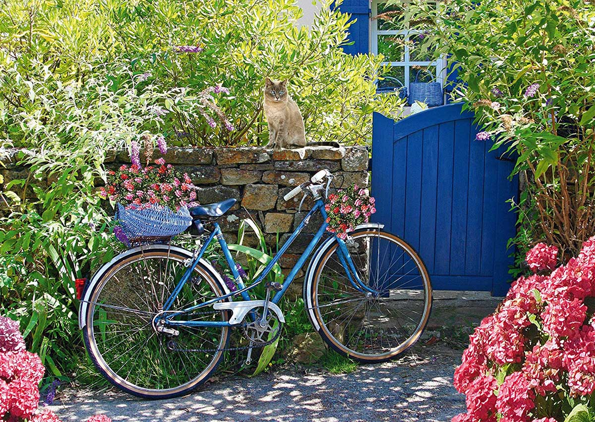 Country Outing By Bike Cats Jigsaw Puzzle