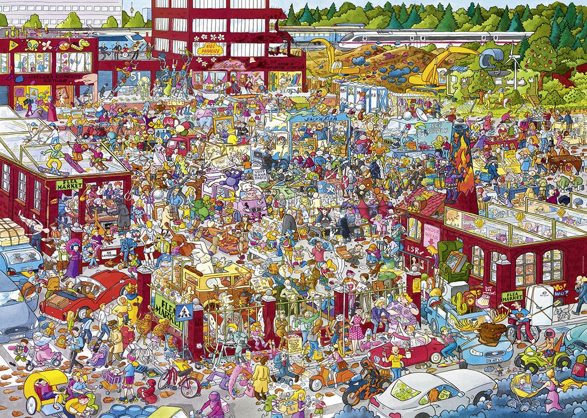 Flea Market Cartoons Jigsaw Puzzle