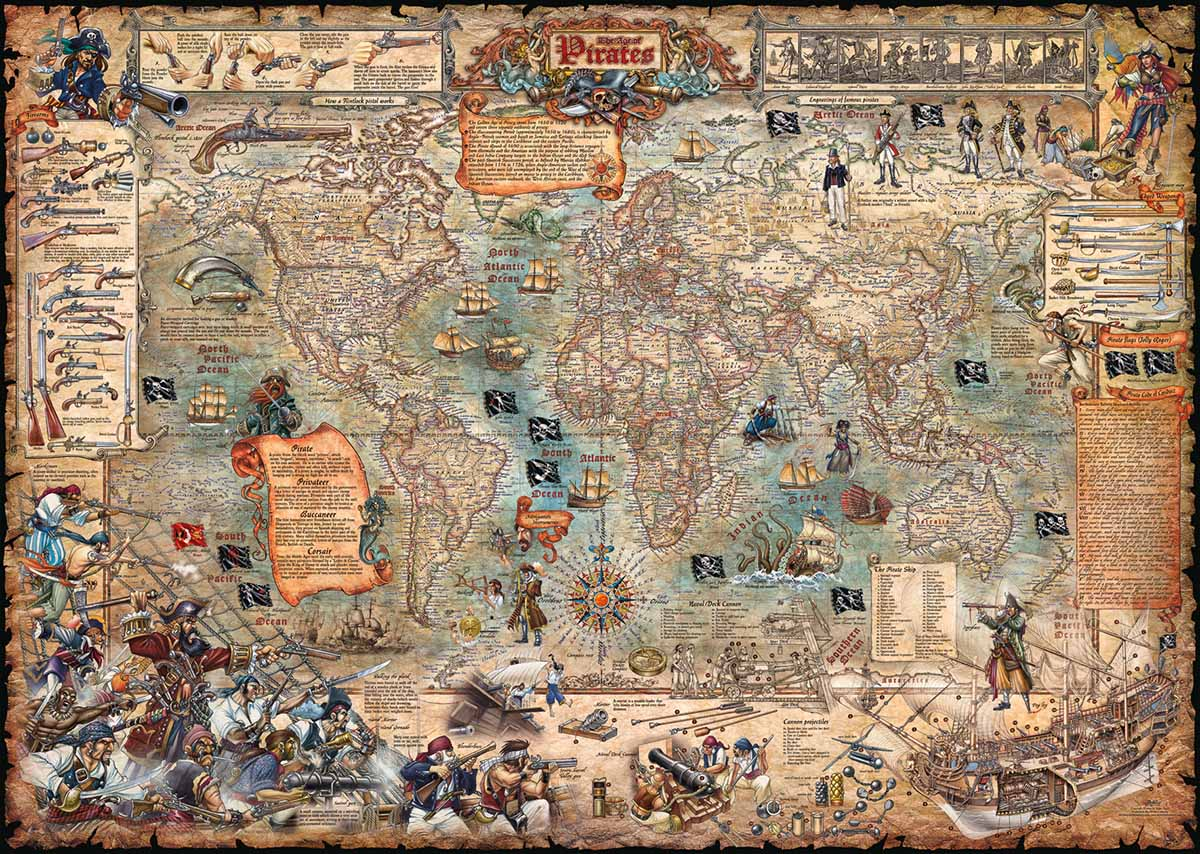 Pirate World Maps / Geography Jigsaw Puzzle