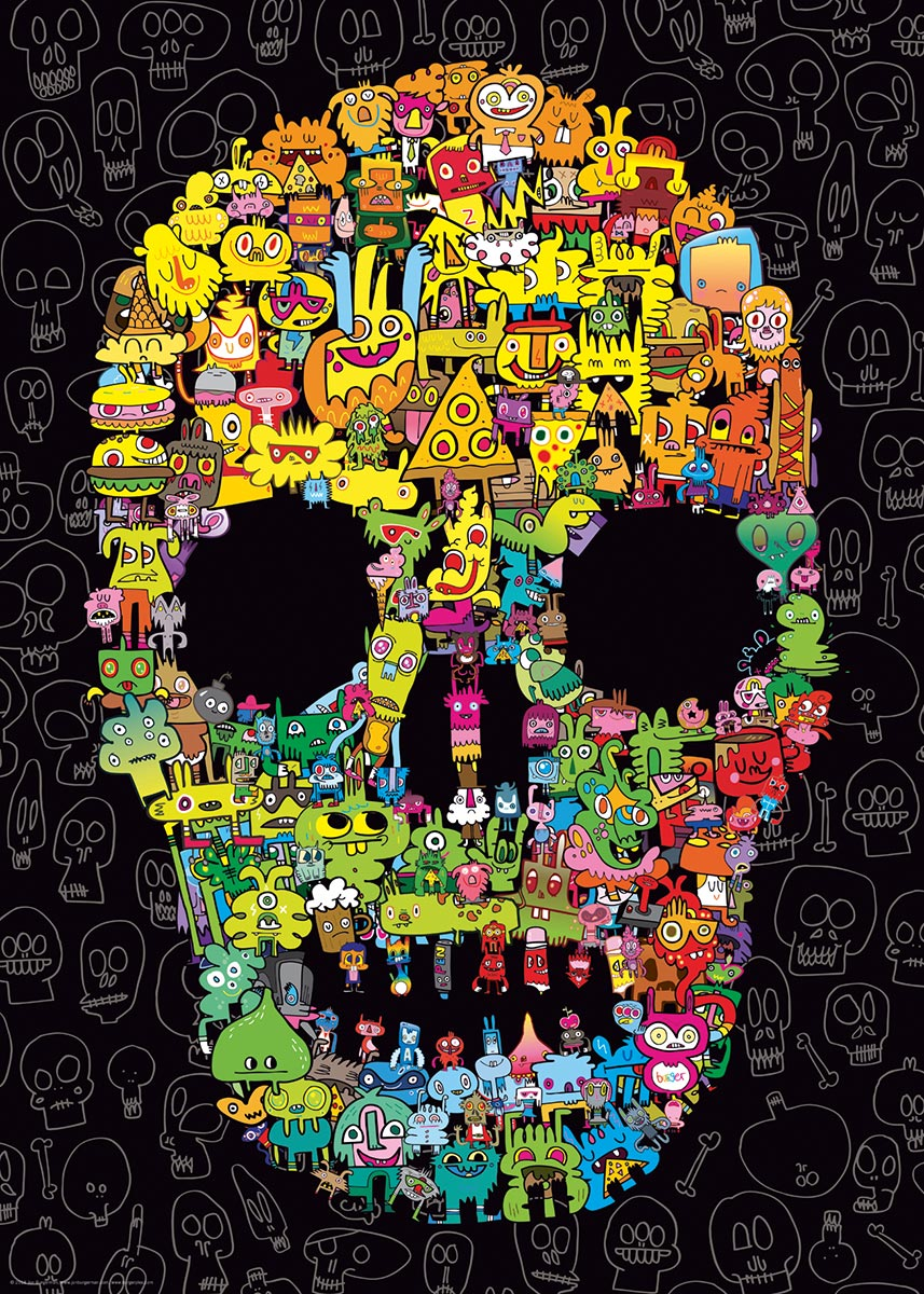 Doodle Skull Cartoons Jigsaw Puzzle