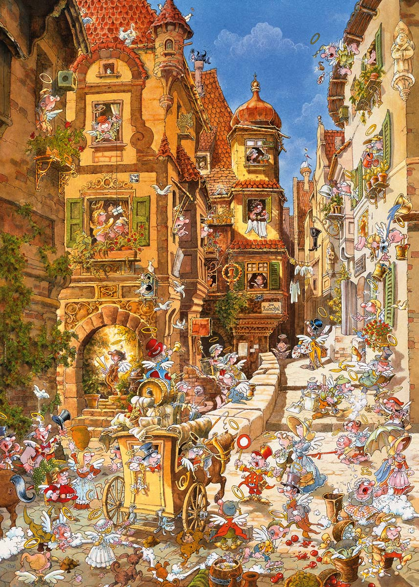 By Day, Romantic Town Street Scene Jigsaw Puzzle