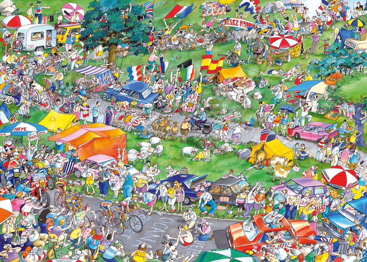 Cycle Race Cartoons Jigsaw Puzzle