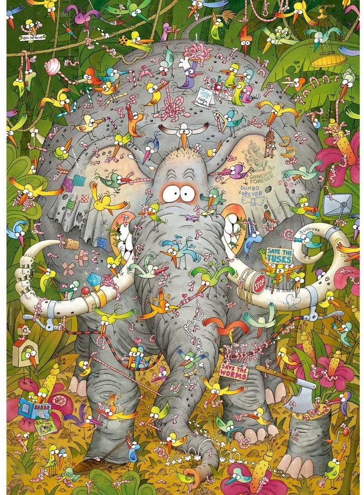 Elephant's Life Birds Jigsaw Puzzle