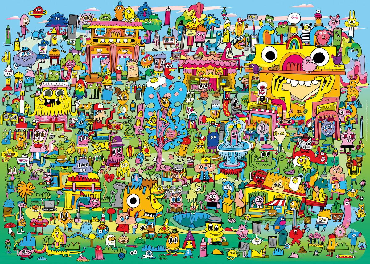 Doodle Village Cartoon Jigsaw Puzzle