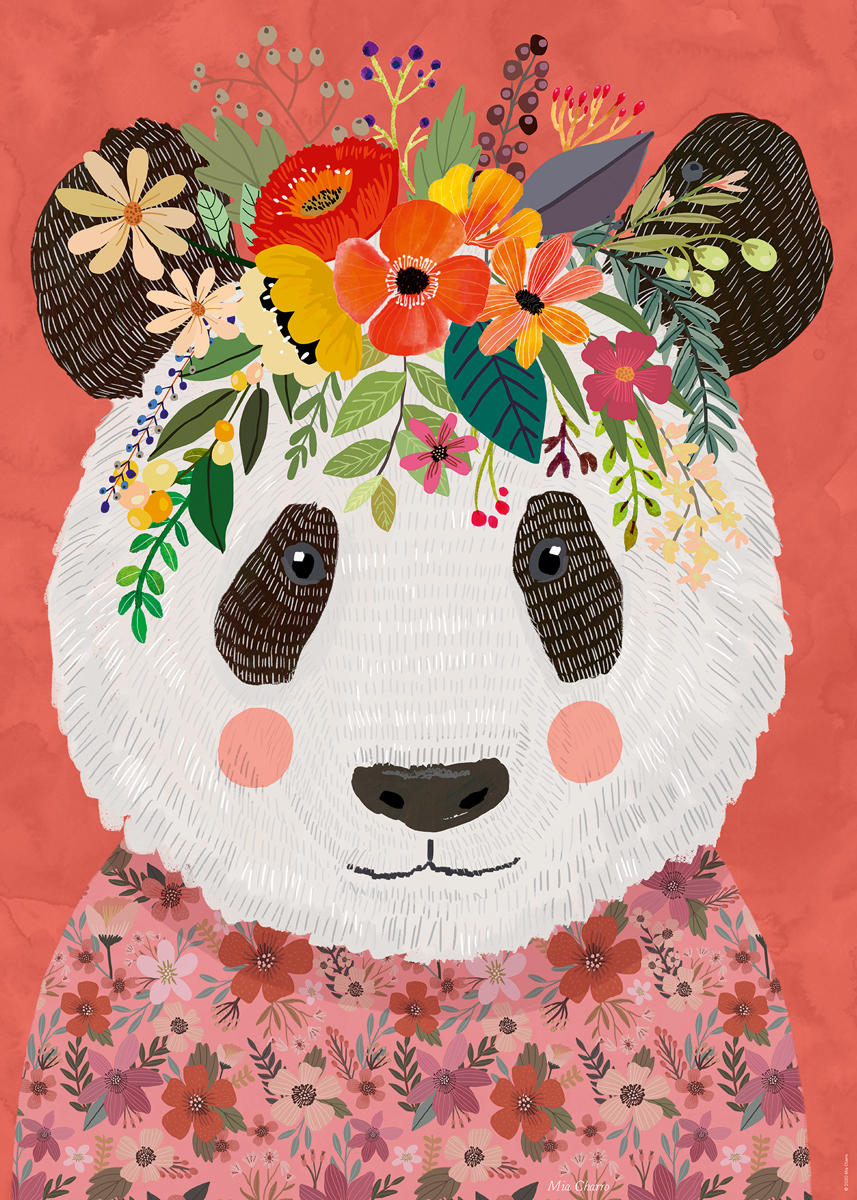 Cuddly Panda, Floral Friends Pandas Jigsaw Puzzle