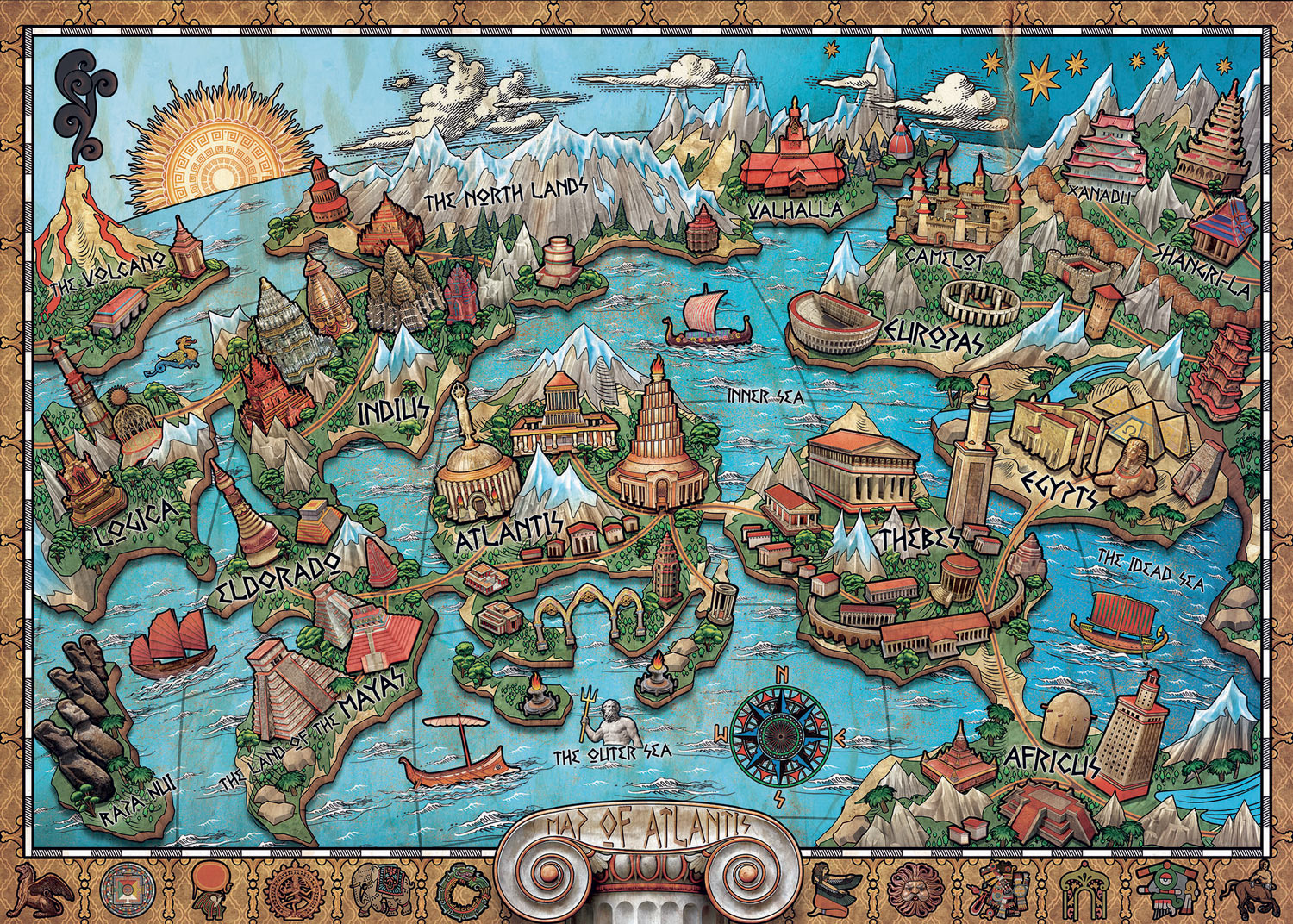 Mysterious Atlantis Maps / Geography Jigsaw Puzzle
