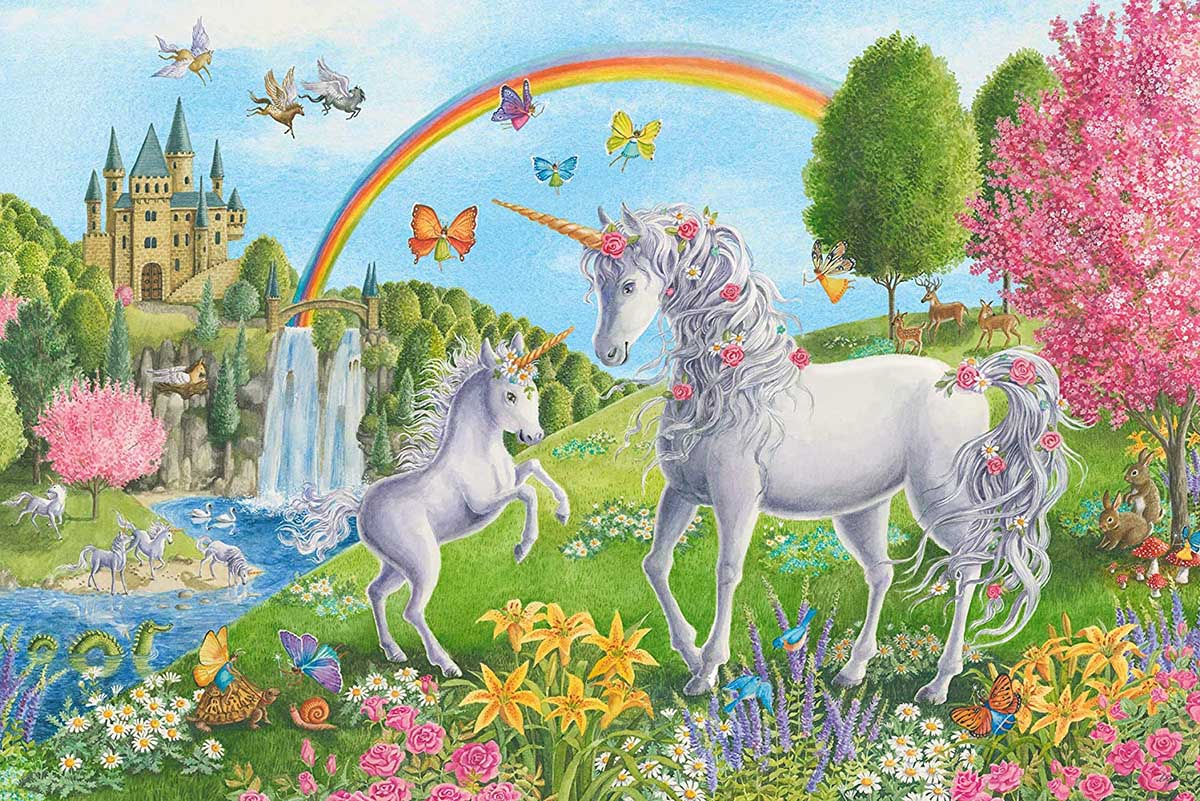 Prancing Unicorns Castles Large Piece