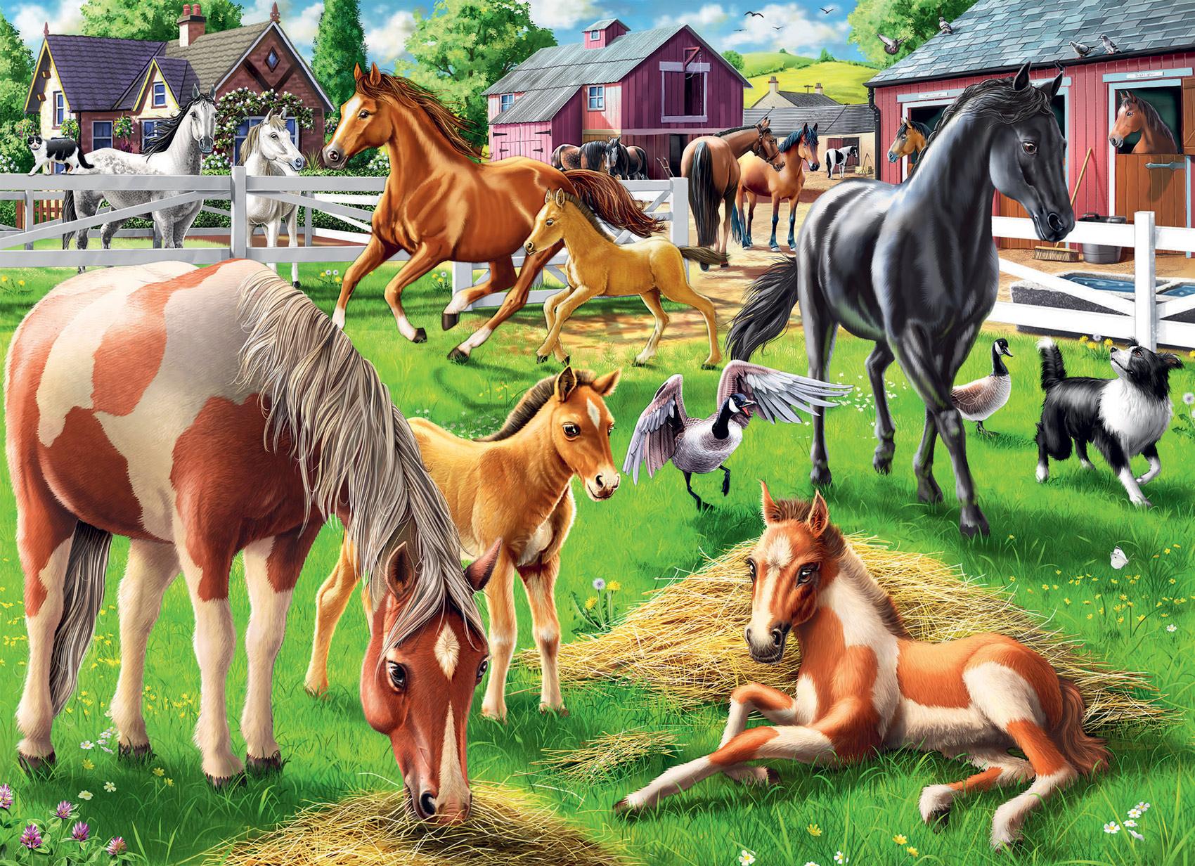 Happy Horses Farm Animals Jigsaw Puzzle