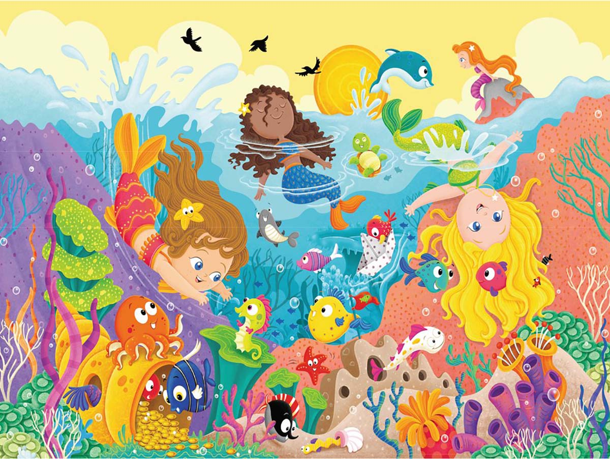Splashing Mermaids Mermaids Floor Puzzle