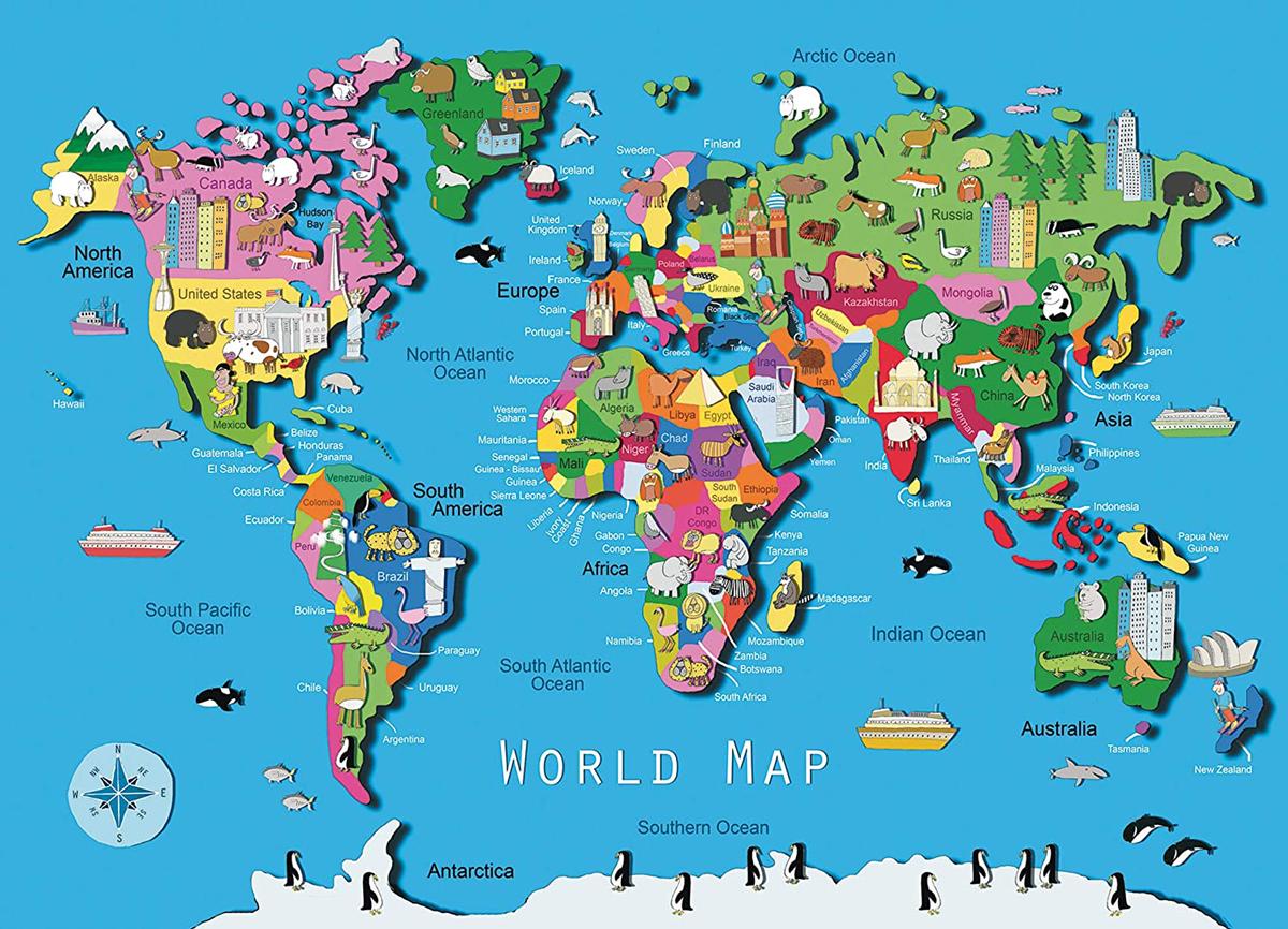 World Map Landmarks / Monuments Jigsaw Puzzle