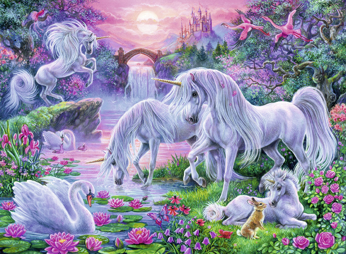 Unicorns in the Sunset Glow Castles Jigsaw Puzzle