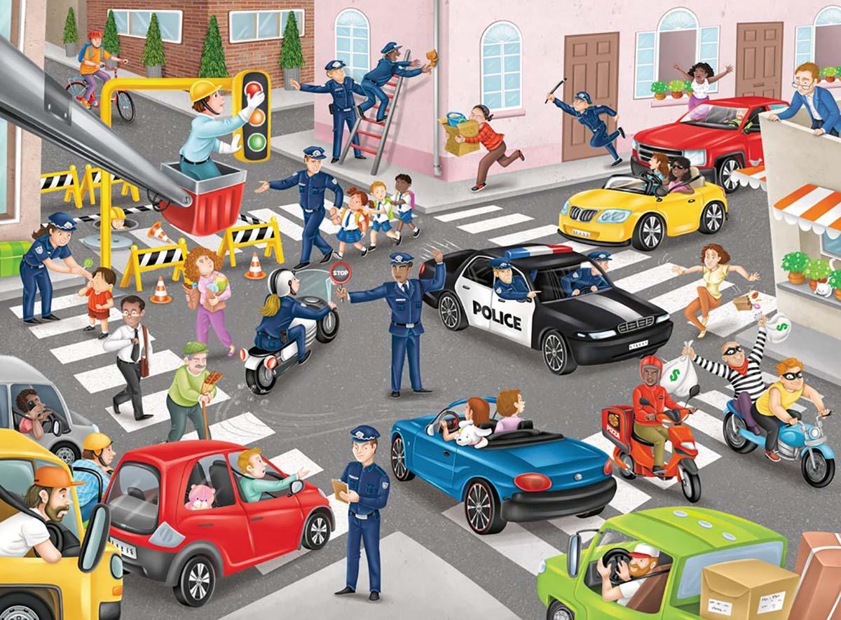 Police on Patrol Street Scene Jigsaw Puzzle