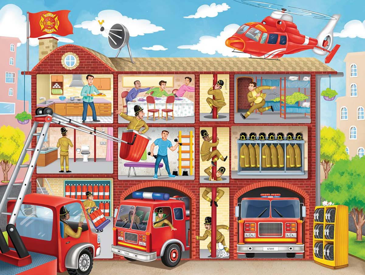 Firehouse Frenzy - Scratch and Dent People Jigsaw Puzzle