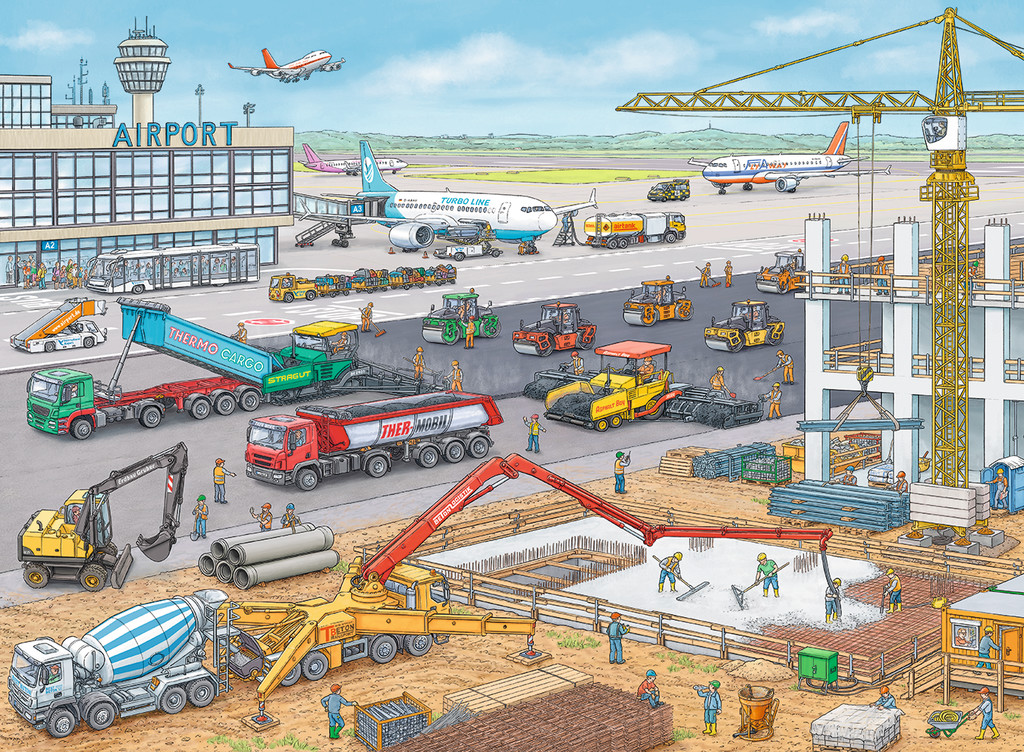 Construction at the Airport Planes Jigsaw Puzzle