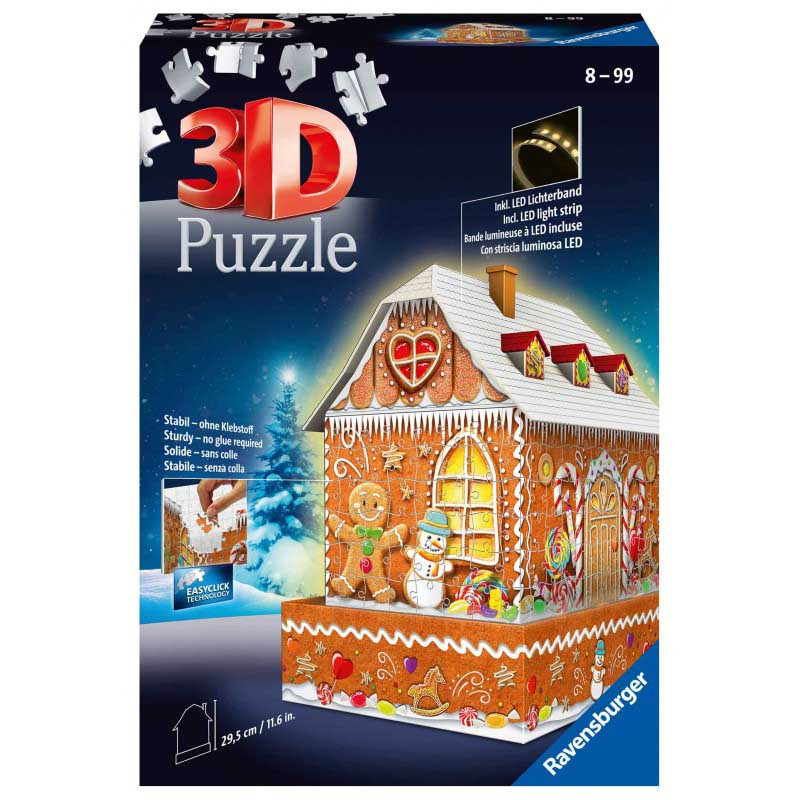 Gingerbread House Night Edition Christmas 3D Puzzle