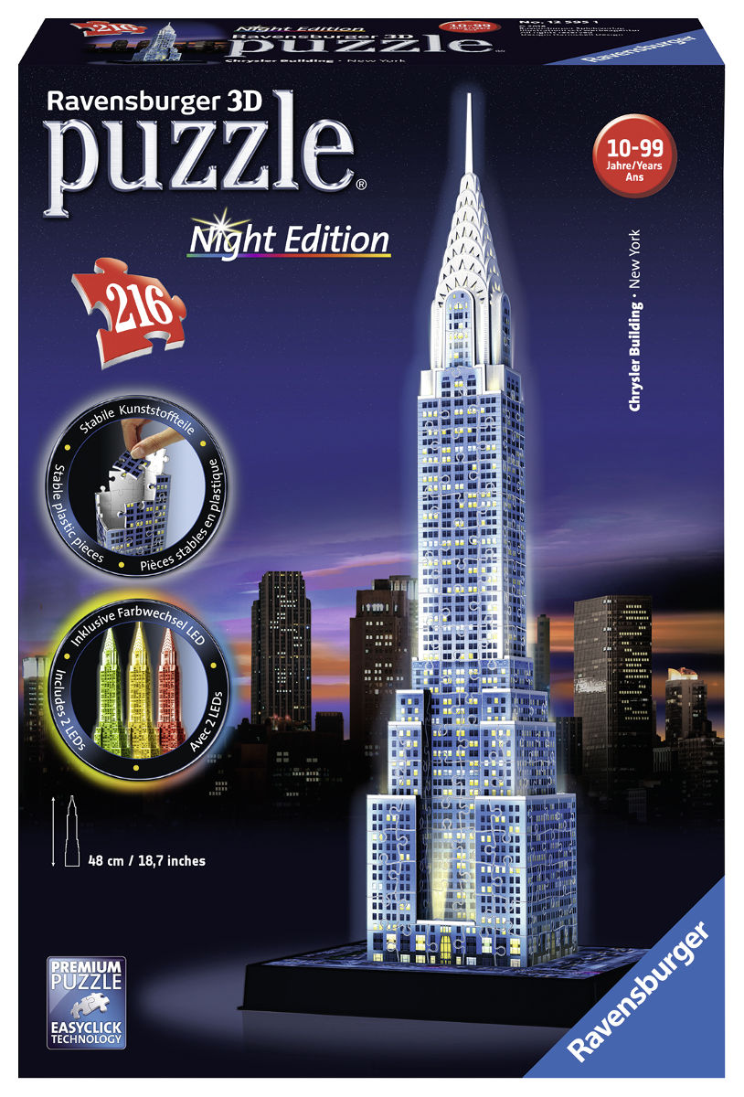 Chrysler Building (Night Edition) Landmarks / Monuments Jigsaw Puzzle