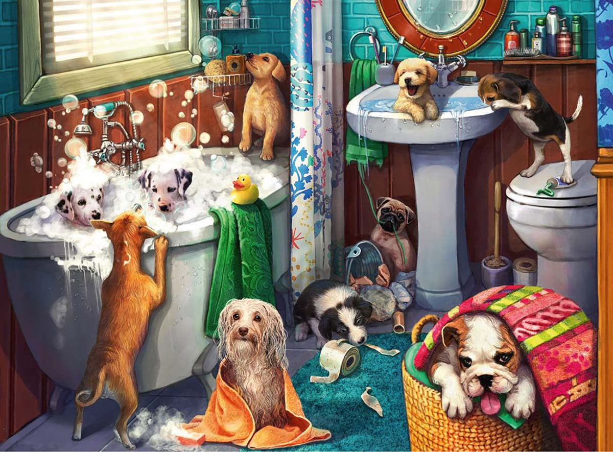 Tub Time Dogs Jigsaw Puzzle