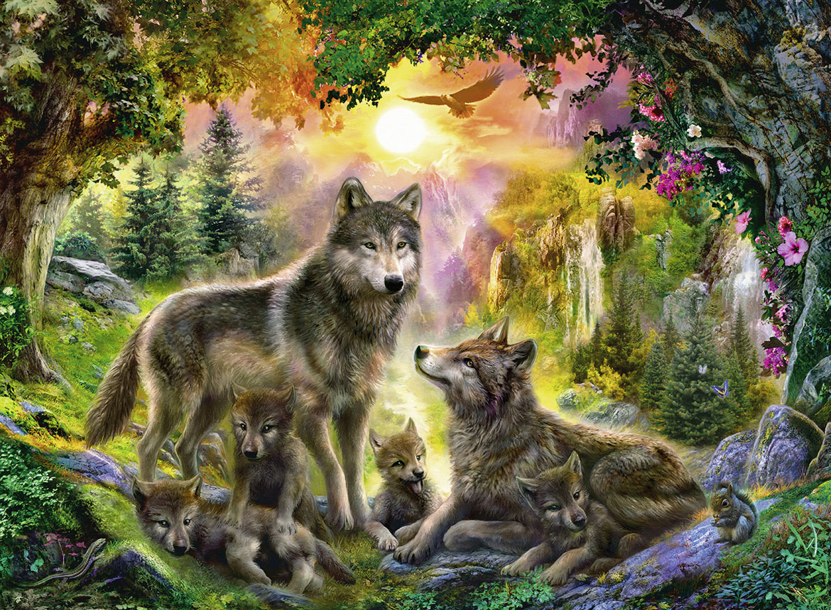 Wolf Family Toy : Wolf family in the sun jigsaw puzzle puzzlewarehouse