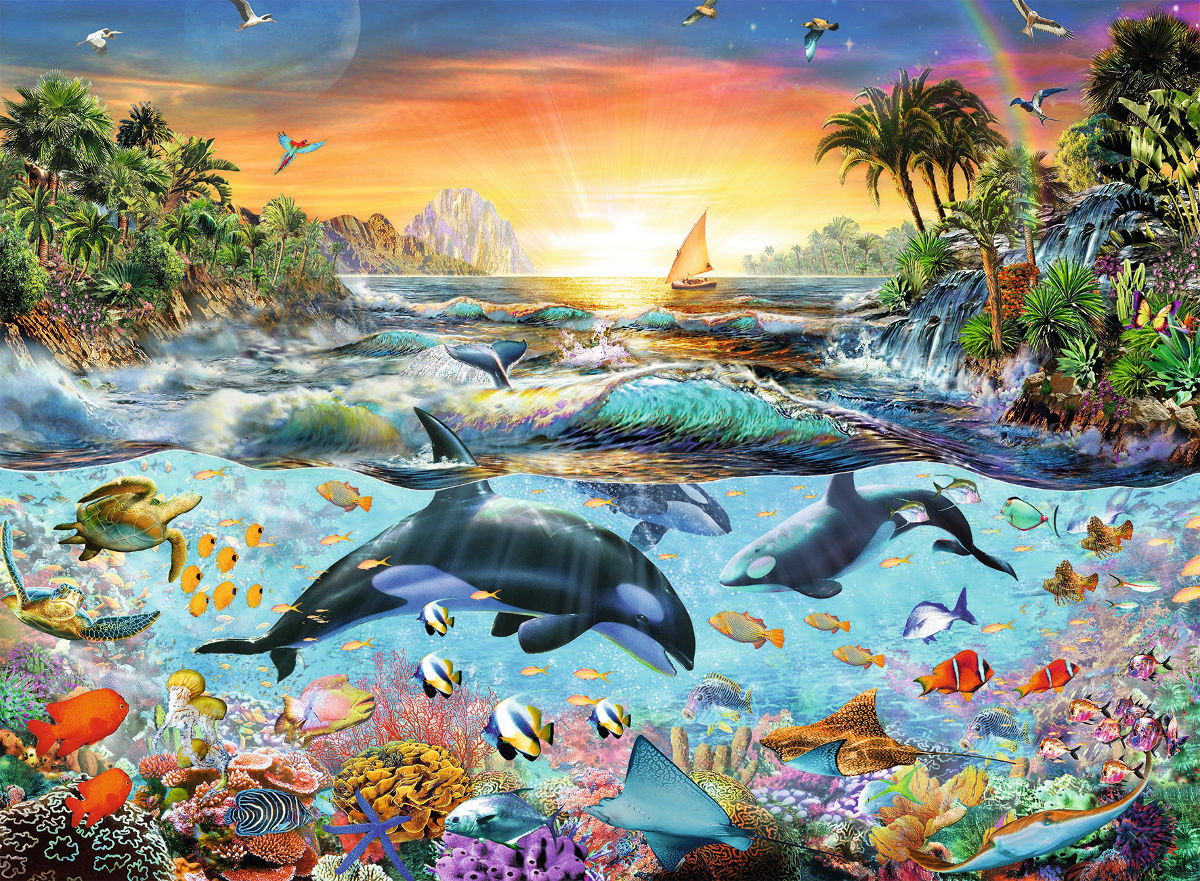 Retro Beach Wallpaper 500 489: Orca Paradise Jigsaw Puzzle