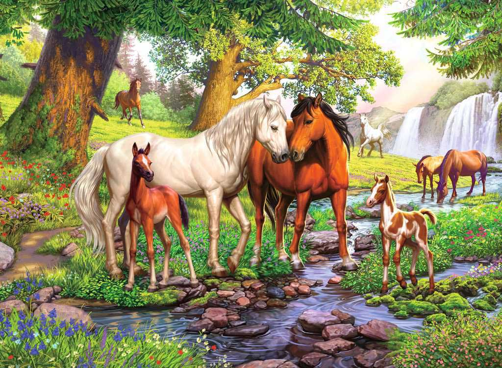 Horses by the Stream - Scratch and Dent Horses Jigsaw Puzzle