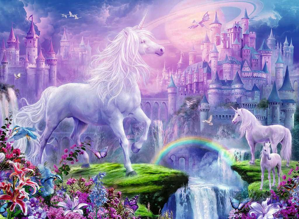 Unicorn Kingdom Castles Glitter / Shimmer / Foil Puzzles