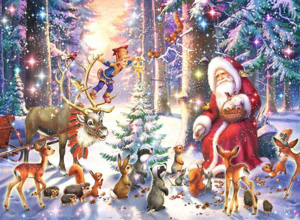 Christmas in the Forest Animals Jigsaw Puzzle