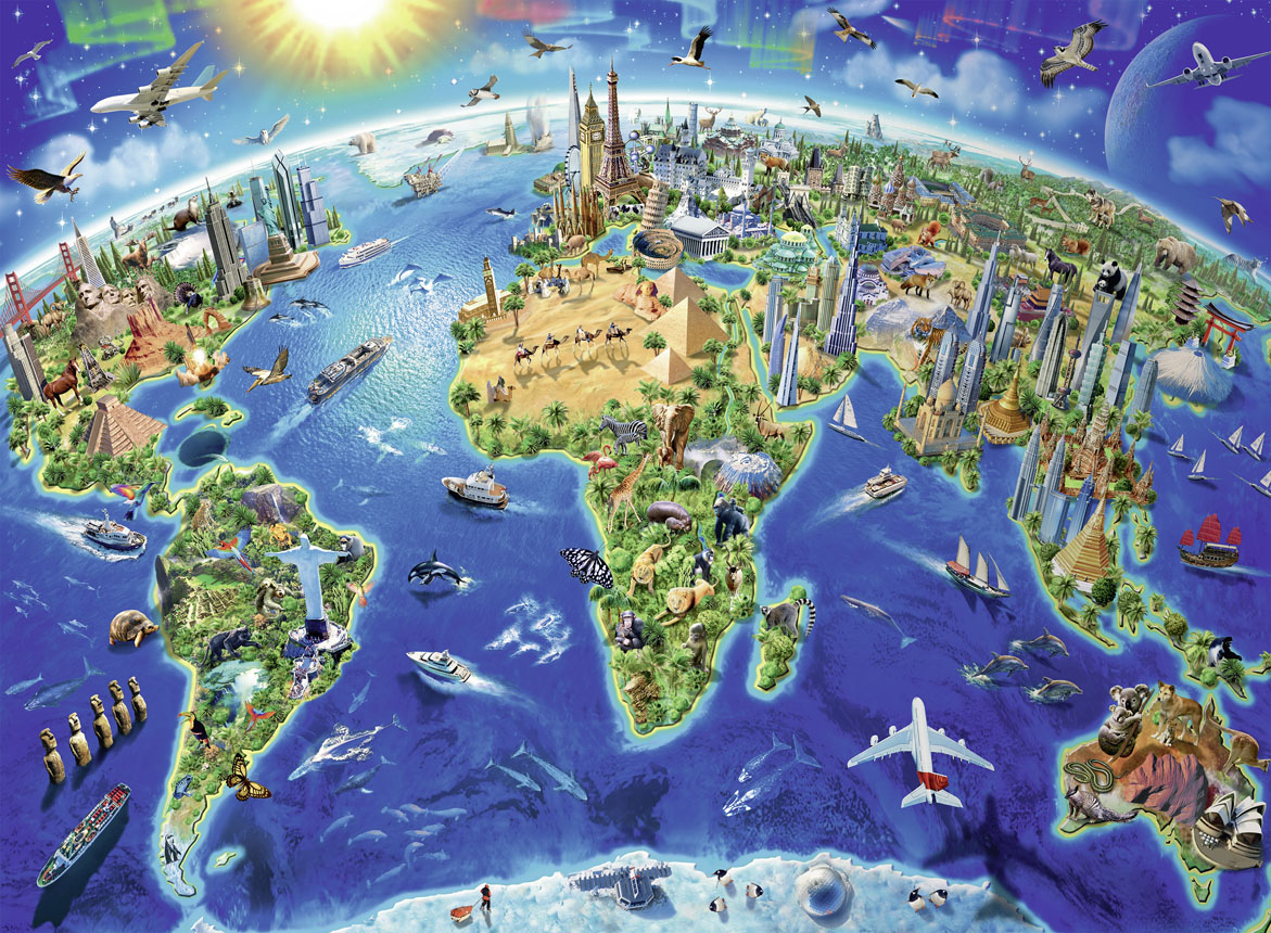 World Landmarks Map Landmarks / Monuments Jigsaw Puzzle