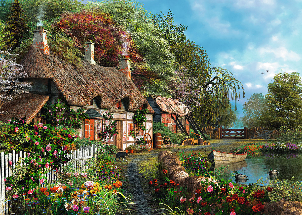 Cottage on a Lake - Scratch and Dent Countryside Jigsaw Puzzle