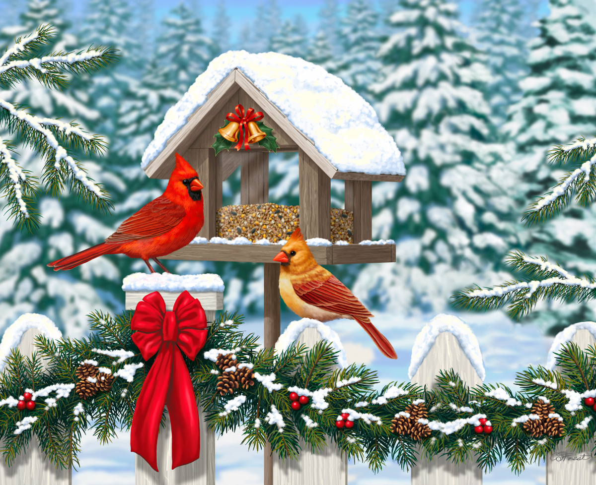 Cardinals at Christmas Jigsaw Puzzle | PuzzleWarehouse.com