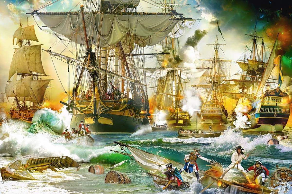 Battle on the High Seas Boats Jigsaw Puzzle