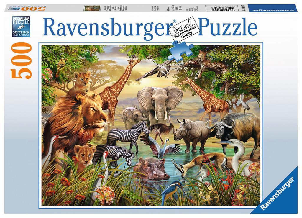 Majestic Watering Hole Jungle Animals Jigsaw Puzzle