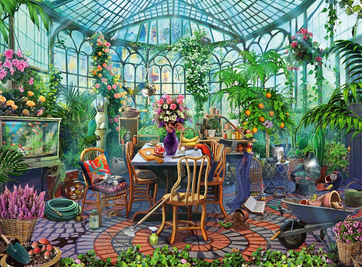 Greenhouse Morning Flowers Jigsaw Puzzle