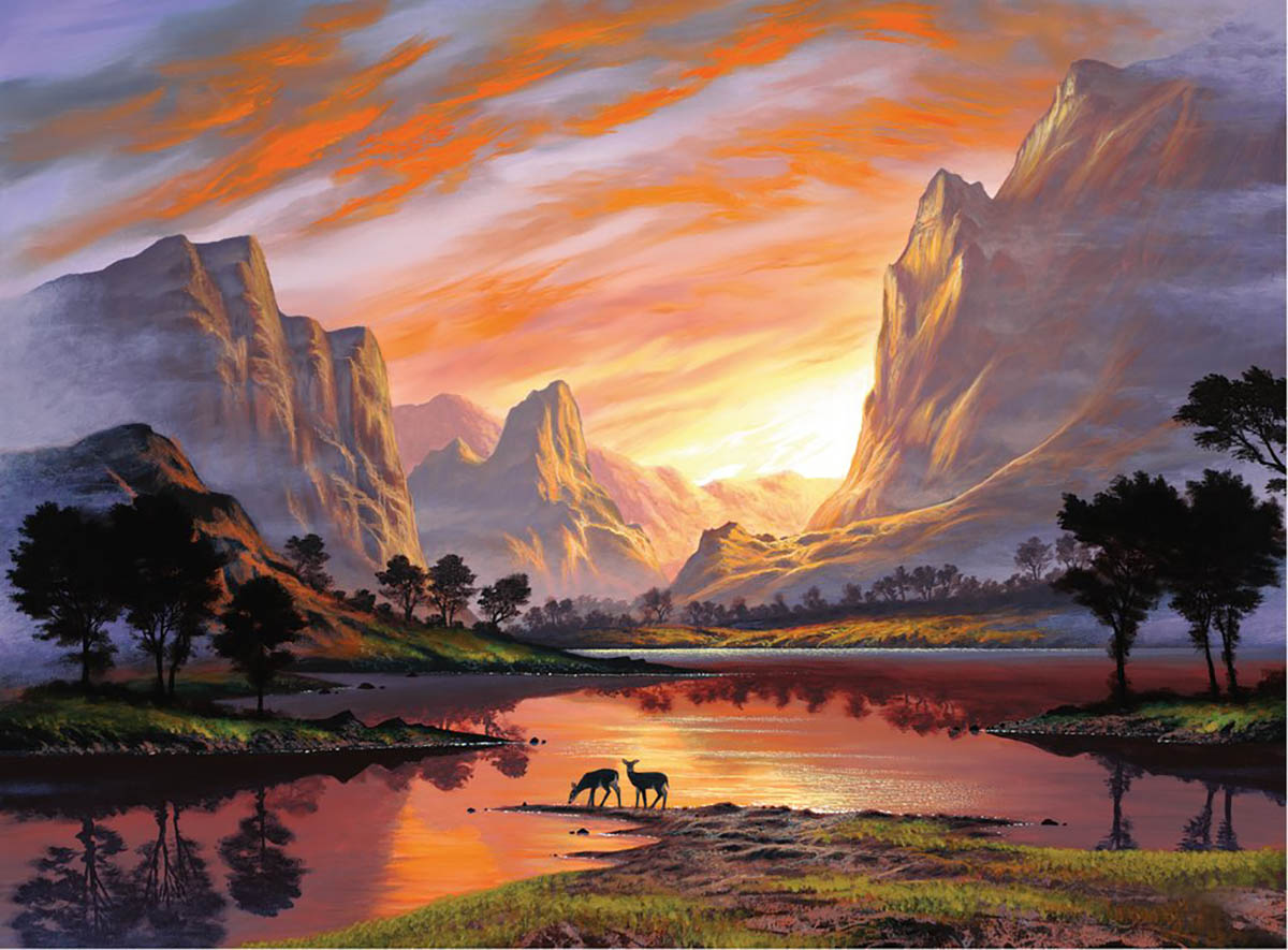 Tranquil Sunset Animals Jigsaw Puzzle
