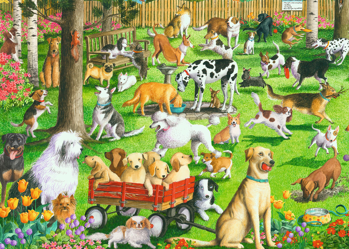 At the Dog Park - Scratch and Dent Dogs Jigsaw Puzzle