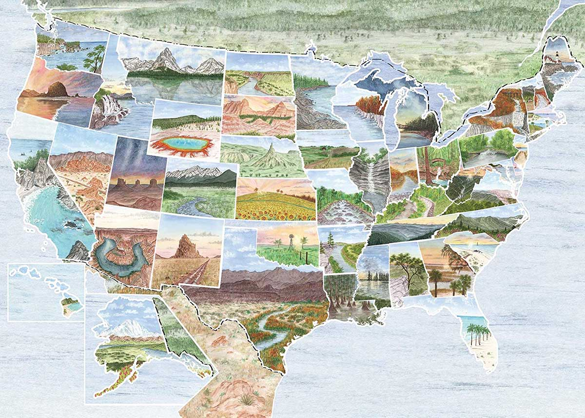 From Sea to Shining Sea Maps / Geography Jigsaw Puzzle
