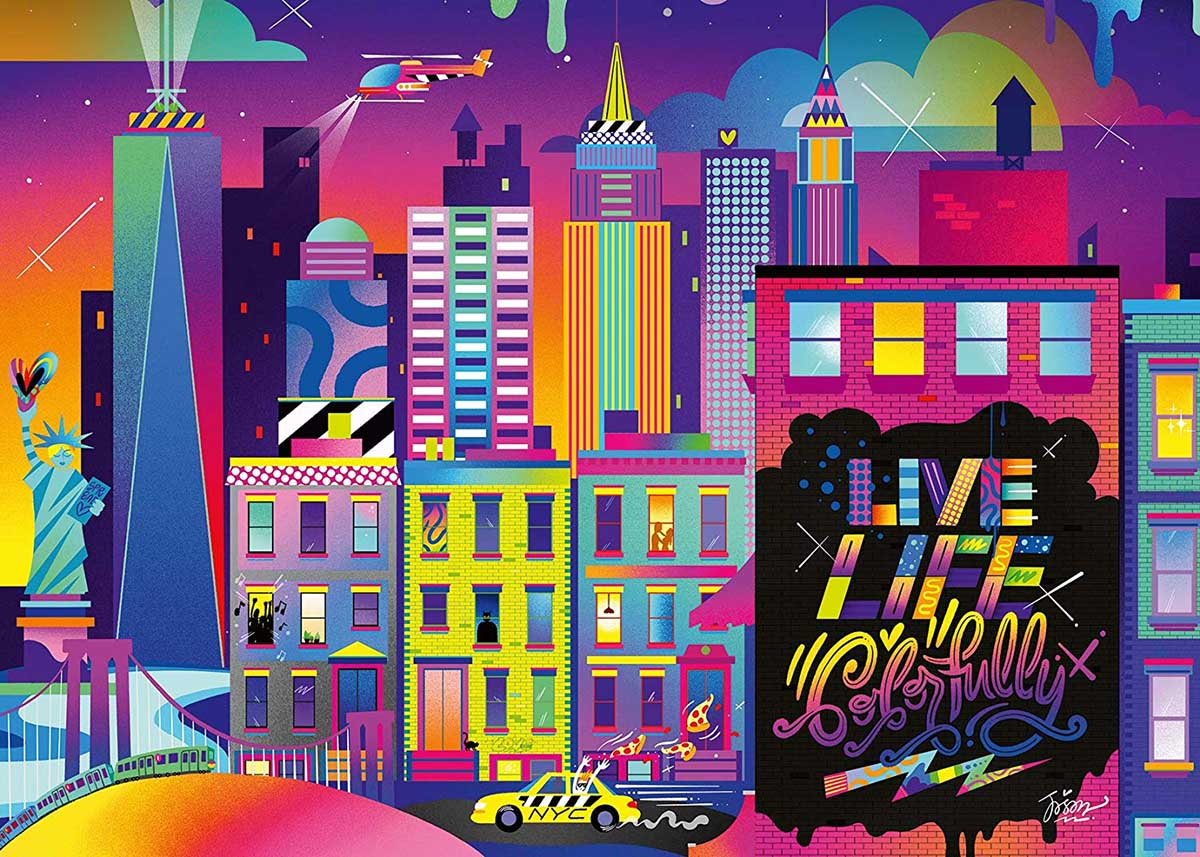 Live Life Colorfully, NYC New York Jigsaw Puzzle